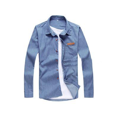 Chemise en jean manches longues avec poche poitrine en cuir PU