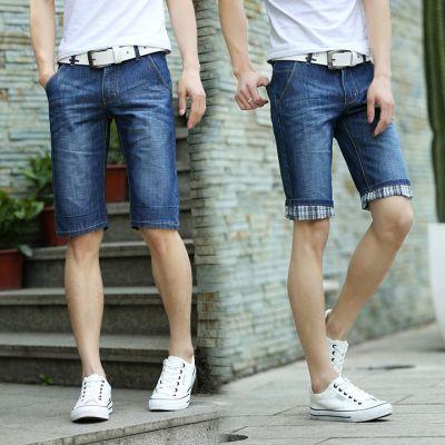 Bermuda en jeans pour homme avec ourlet à carreaux