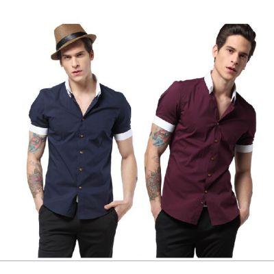Chemise  manches courtes pour homme avec col et manches bordés