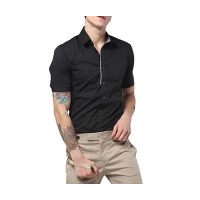 Chemise manches courtes pour homme avec petite bordure col