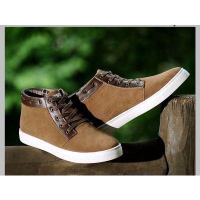 Chaussures de ville montantes en daim avec contour cuir