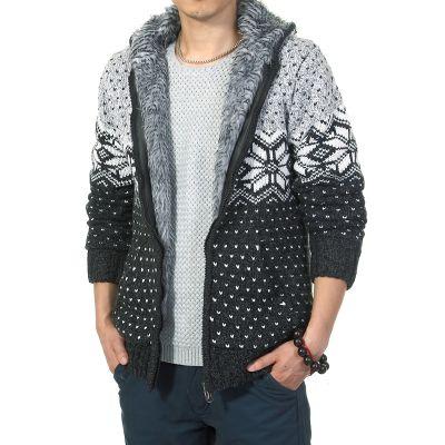Veste laine épaisse à capuche fourrure intérieur bicolore motif étoile