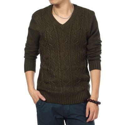 Pullover pour homme tricoté laine avec motif et col V