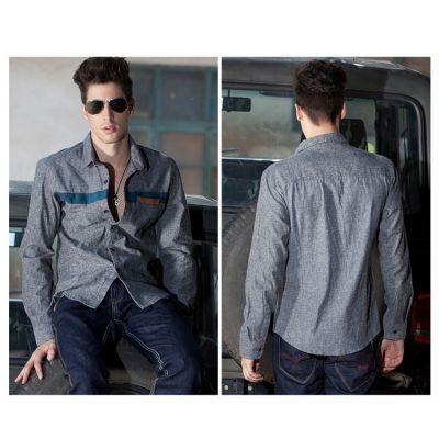 Chemise en jean pour homme avec bande poitrine mode casual fashion