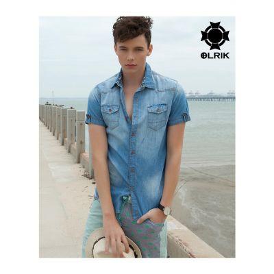 Chemise en jean manches courtes pour homme classique poches poitrines