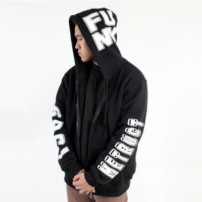 Veste à capuche Noire Ecriture Manches Capuche Hip Hop Funk