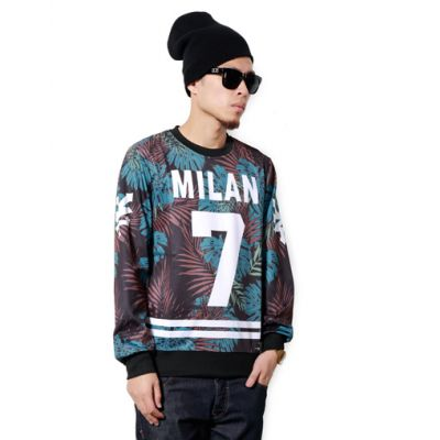 Sweatshirt Swag Milan pour Homme Numéro 7 Feuillage