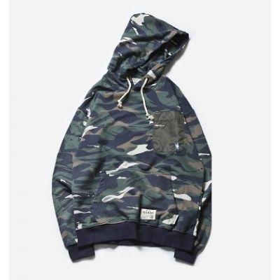 Sweatshirt à capuche camouflage motif militaire pour homme