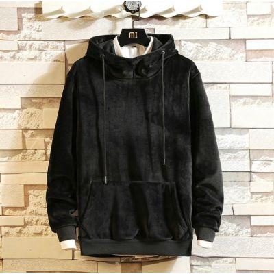 Sweatshirt à capuche en velours gris pour homme