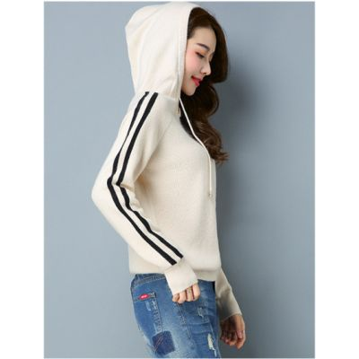 Sweatshirt à capuche pour femme avec bandes sur les manches