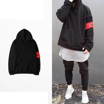 Sweatshirt à capuche pour homme oversize avec bande rouge 424
