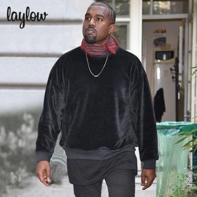 Sweatshirt crewneck en velours noir pour homme