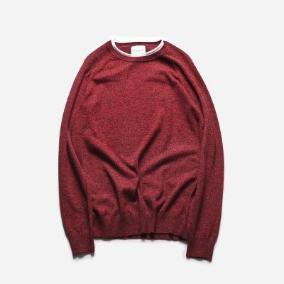Sweatshirt crewneck pour homme couleur unie avec bordure col blanche