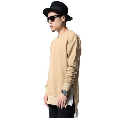 Sweatshirt homme arrière long col rond beige en coton