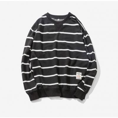 Sweatshirt marin à rayures noir et blanc pour homme