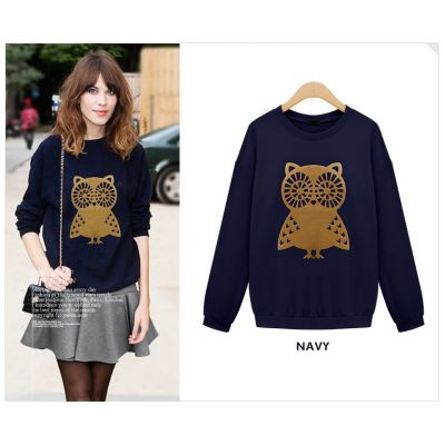 Sweatshirt pour Femme avec Imprimé Hiboux Doré Manches Longues