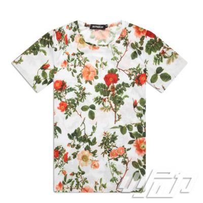 T shirt à Fleur pour Homme Fond Blanc Rouge Vert