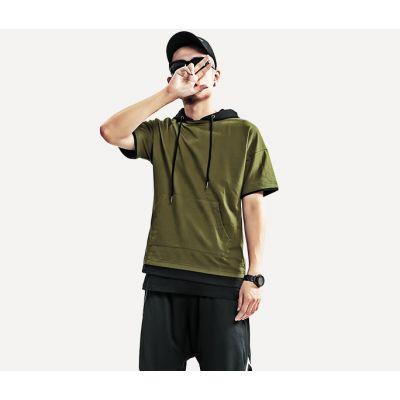 T-shirt à Capuche avec Poche Ventrale Bicolore pour homme ou femme