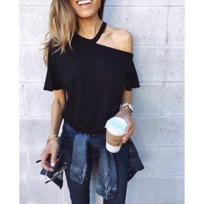 T-shirt à manches courtes et épaules dénudées pour femme