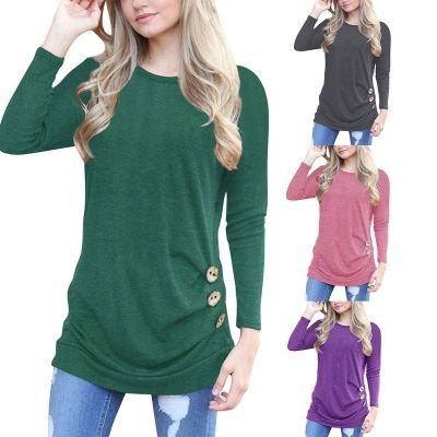 T-shirt à manches longues pour femme avec boutons côtés