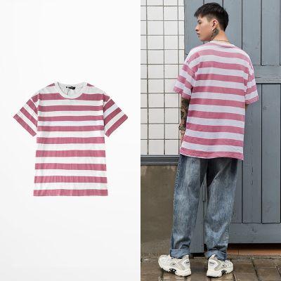 T-shirt à rayures délavées rose blanches pour homme ou femme unisex
