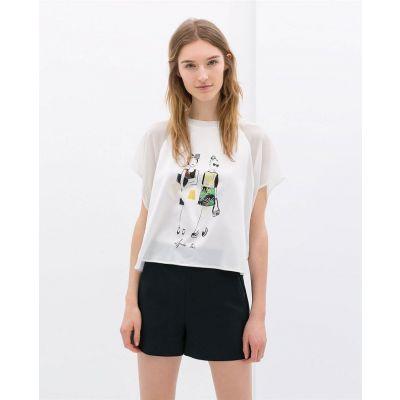 T shirt Après Toi pour Femme Design Imprimé Ladies Manches Courtes