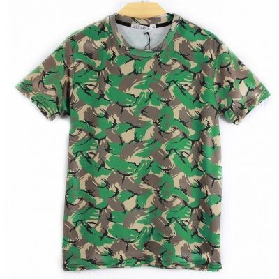 T shirt Camouflage Cartoon Vert Marron Beige Stretch pour Homme