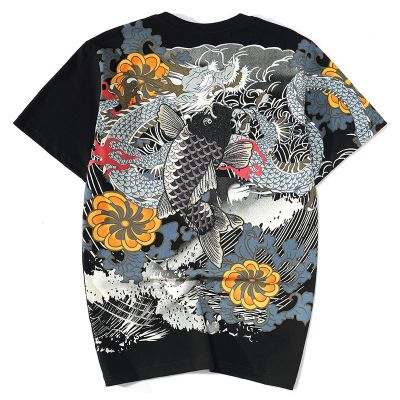 T-shirt carpe tatouage japonais yakuza multicolore