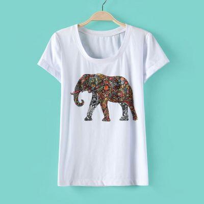 T shirt Col Rond pour Femme avec Imprimé Elephant Multicolore Tendance