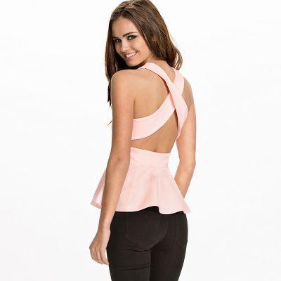 T shirt Débardeur pour Femme avec Bretelles Arrières Croisées