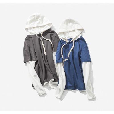 T-shirt doublé à capuche pour homme avec manches longues bicolores