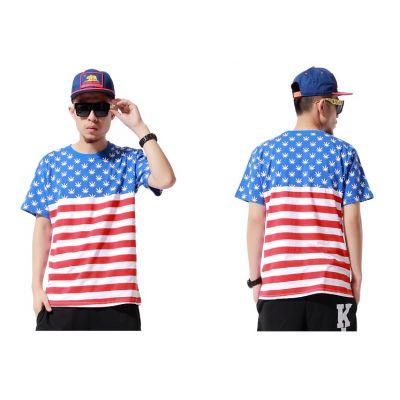 T shirt Drapeau Américain US Flag Bleu Rouge pour Homme Femme