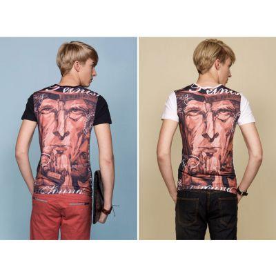 T-shirt Fashion Homme avec Imprimé au Dos Visage