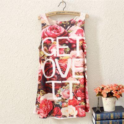 T shirt Fashion Sans Manches Get Over It Motif à Fleurs