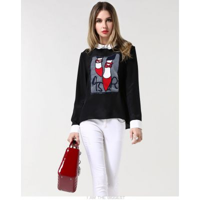T-shirt Femme Effet Chemise avec Broderie Chaussures Rouges