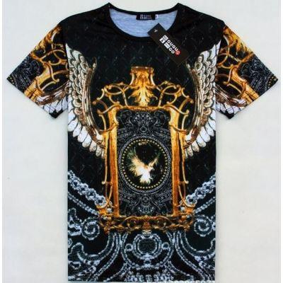 T shirt Hip Hop Eagle Chaine en Or Motif Noir Argent Swag