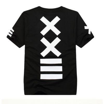 T shirt Hip Hop XXII Noir et Blanc Croix au Dos Swag