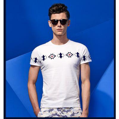 T-shirt Homme Imprimé Géométrique Carrés Fashion