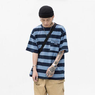 T-shirt Homme manche courte col rond motif à rayures en coton style rétro avec poche