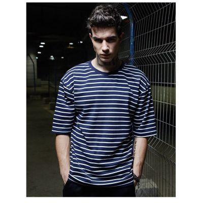 T shirt Large Homme à Rayures Bleu Marine Blanches
