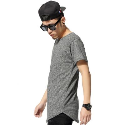 T shirt Long Swag Homme avec Bas Arrondi Gris Poivre Sel