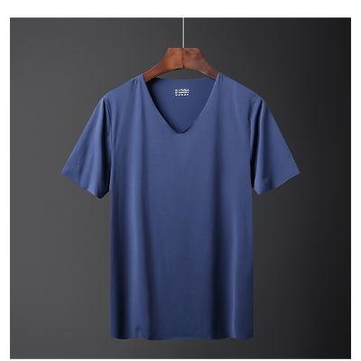T-shirt manches courtes à séchage rapide pour homme tissu couleur unie col en v