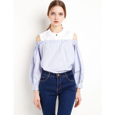 T-shirt manches longues épaules nues pour femme deux pièces effet chemise