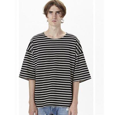 T-shirt Oversize à rayures blanches et bleu marine pour homme