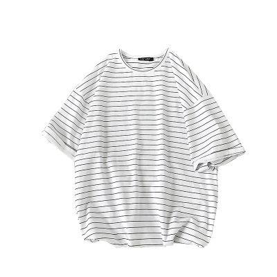 T-shirt oversize à rayures horizontales bleu marine et blanc pour homme ou femme