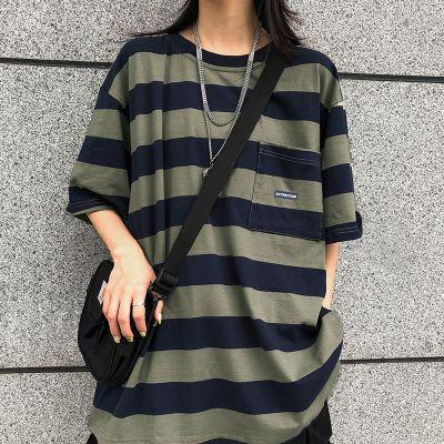 T-shirt oversize à rayures horizontales larges avec coupe flottante homme ou femme