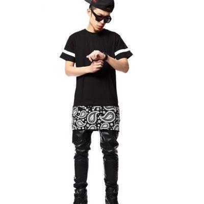 T shirt Oversize Bandana Paisley Noir West Coast Streetwear US