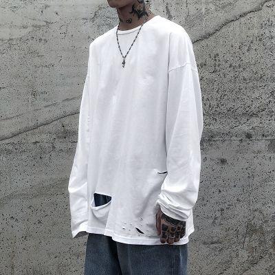 T-shirt oversize déchiré à manches longues pour homme