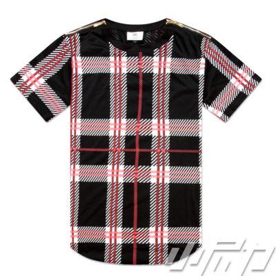 T shirt Oversize Tartan Ecossais Rouge Noir à Carreaux