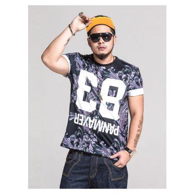 T-shirt Panmaxer 83 Inversé à Fleurs Gris Noir et Blanc Grande taille homme